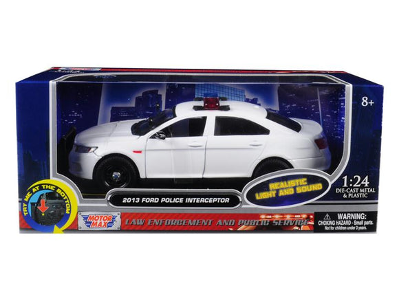 2013 Ford Police Interceptor with Flashing Lights and Two Sounds Plain White 1-24 Diecast Model Car  by Motormax