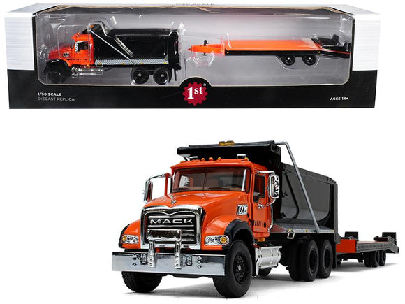 Mack Granite MP Tandem Axle Dump Truck with Beavertail Trailer Orange and Black 1-50 Diecast Model by First Gear