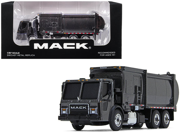 Mack LR with McNeilus ZR Side Loader Refuse Garbage Truck Graphite Gray 1-87 Diecast Model by First Gear