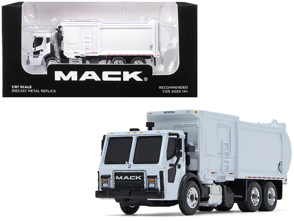 Mack LR with McNeilus ZR Side Loader Refuse Garbage Truck White 1-87 Diecast Model by First Gear