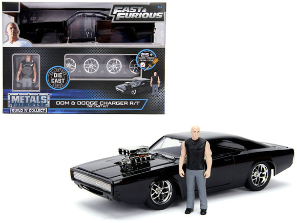 Model Kit Dodge Charger R-T Black with Dom Diecast Figure