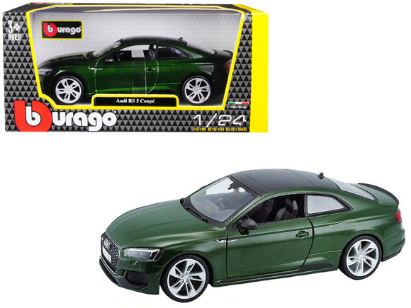 Audi RS 5 Coupe Metallic Green with Black Top 1-24 Diecast Model Car by Bburago