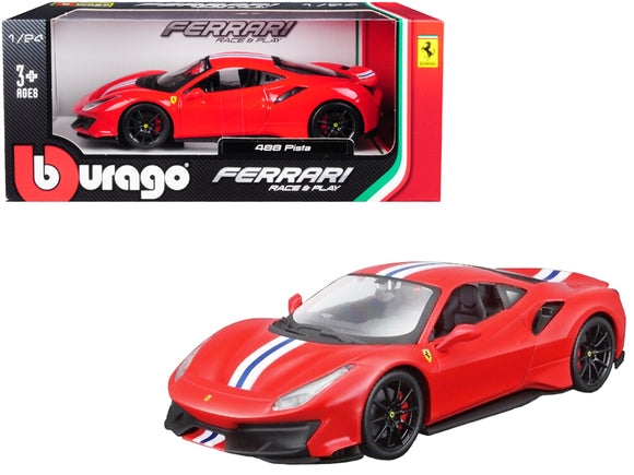 Ferrari 488 Pista Red with White and Blue Stripes 1-24 Diecast Model Car by Bburago
