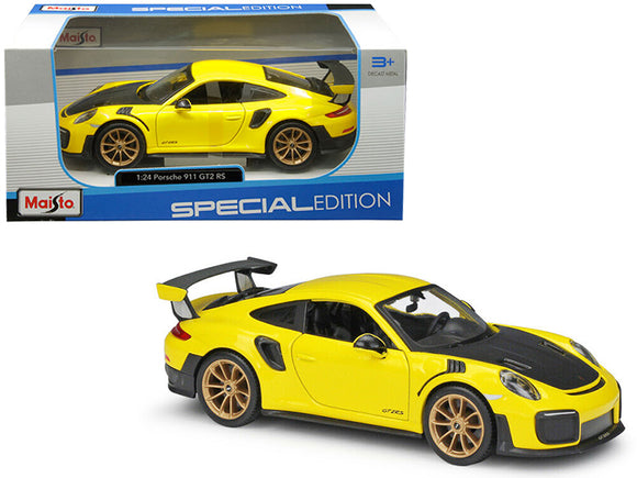 Porsche 911 GT2 RS Yellow with Carbon Hood 1-24 Diecast Model Car by Maisto
