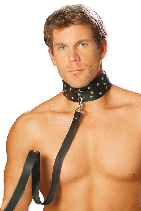 Leather Collar W/ Studs And O