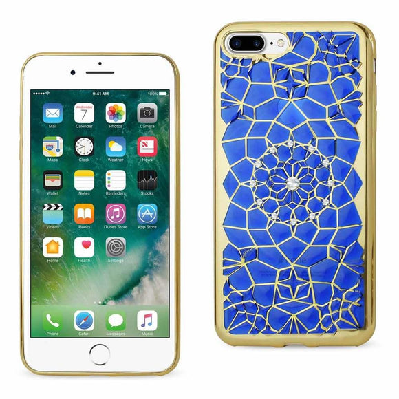 Reiko Reiko Iphone 7 Plus Soft Tpu Case With Sparkling Diamond Sunflower Design In Navy