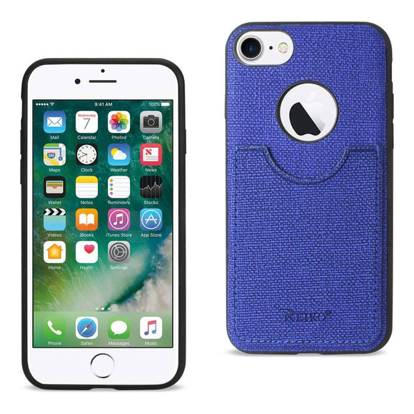 Reiko Reiko Iphone 7- 6- 6S Anti-Slip Texture Protector Cover With Card Slot In Navy