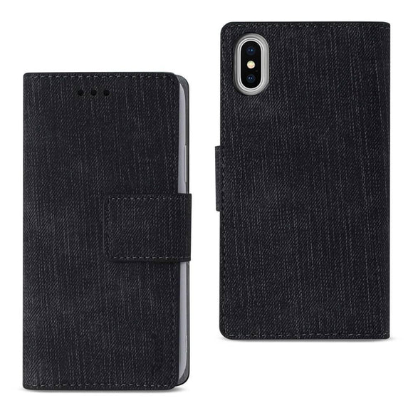 Reiko REIKO IPHONE X DENIM WALLET CASE WITH GUMMY INNER SHELL AND KICKSTAND FUNCTION IN BLACK