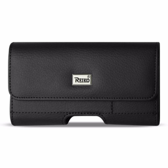 Reiko REIKO HORIZONTAL LEATHER POUCH IPHONE 6- 6S- 7- SAMSUNG GALAXY S8 EDGE WITH CARD HOLDER IN BLACK (6.37X3.21X0.43 INCHES SLIM)