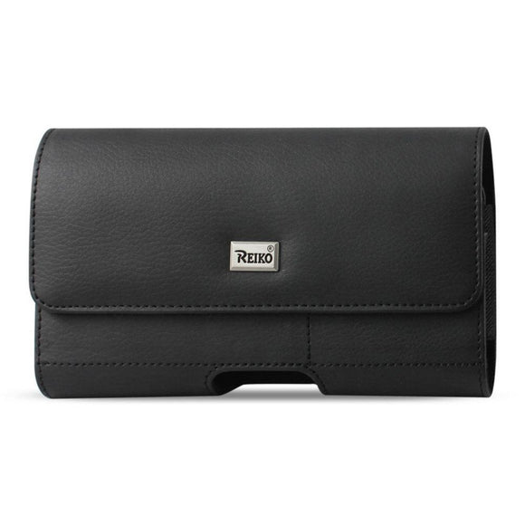 Reiko REIKO HORIZONTAL LEATHER POUCH IPHONE 6 PLUS- 6S PLUS- 7 PLUS- SAMSUNG GALAXY S8 EDGE WITH CARD HOLDER IN BLACK (6.62X3.46X0.68 INCHES PLUS)