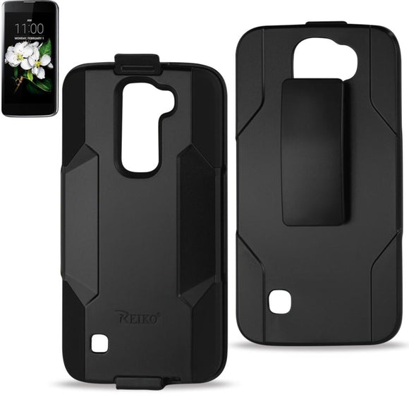 Reiko Reiko Lg K7 3-In-1 Hybrid Heavy Duty Holster Combo Case In Black