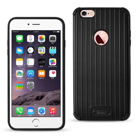 Reiko Reiko Iphone 6 Plus- 6S Plus Rugged Metal Texture Hybrid Case With Ridged Back In Black