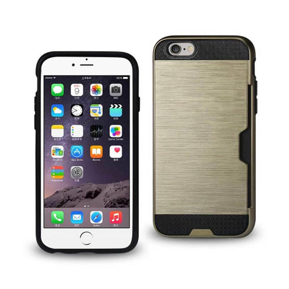 Reiko Reiko Iphone 6 Slim Armor Hybrid Case With Card Holder In Gold