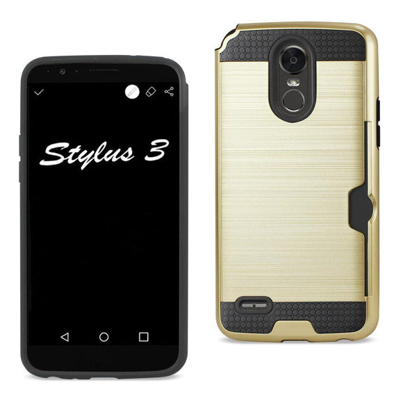 Reiko Reiko Lg Stylo 3- Stylus 3 Slim Armor Hybrid Case With Card Holder In Gold