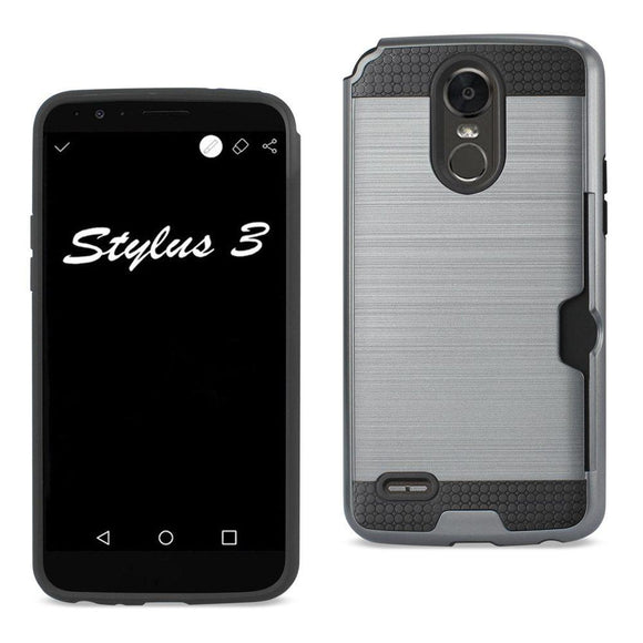 Reiko REIKO LG STYLO 3- STYLUS 3 SLIM ARMOR HYBRID CASE WITH CARD HOLDER IN GRAY