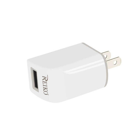 Reiko Reiko Iphone 5- 5C- 5S- Se- 6- 6S- 6 Plus- 6S Plus- 7- 7 Plus 1 Amp Portable Travel Adapter Charger With Cable In White