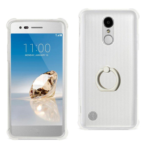 Reiko Reiko Lg Aristo- Fortune- Phoenix 3 Transparent Air Cushion Protector Bumper Case With Ring Holder In Clear