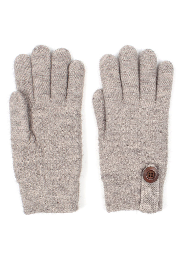 Womens Textured Winter Knit Gloves with Button Accent Fleece Lined