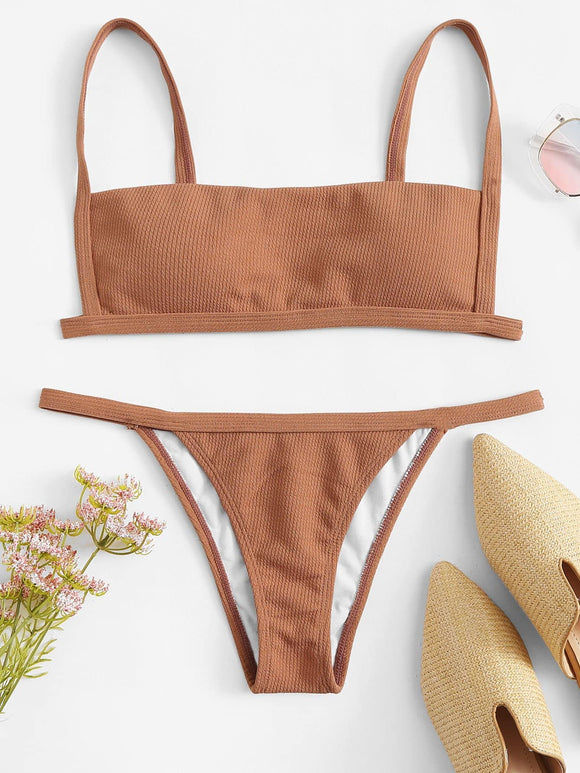 Rib Cami Top With Tanga Bikini Set