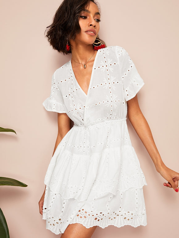 Embroidery Eyelet Insert Tiered Hem Dress