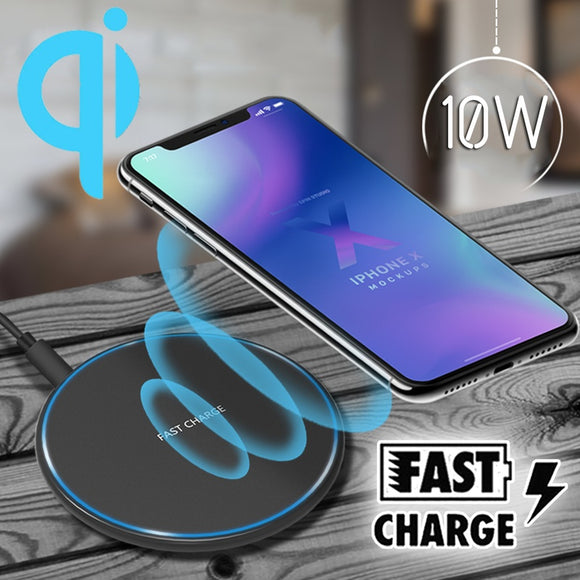 Ultra-thin Qi Wireless Charger for IPhone X/XS Max XR 8 Plus for Samsung S9 S9+ Note 9 8 S9 S8 S7 S6 Edge Desktop Fast Wireless