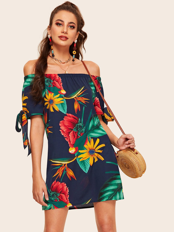 Off The Shoulder Floral Print Knot Cuff Dress