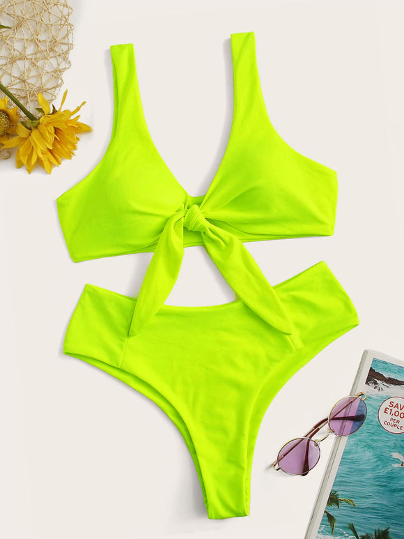 Neon Lime Knot Front Top With Panty Bikini Set