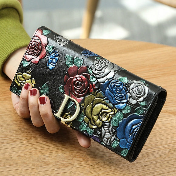Leather Long Ladies Wallet Original Retro Ethnic Style Three-dimensional Printing Wallet