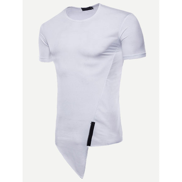Men Zip Decoration Contrast Hem Tee