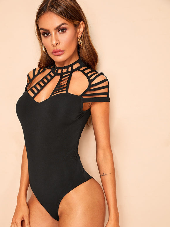 Caged Neck Solid Bodysuits
