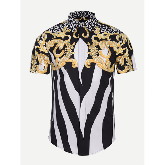 Men Floral Print Striped Blouse