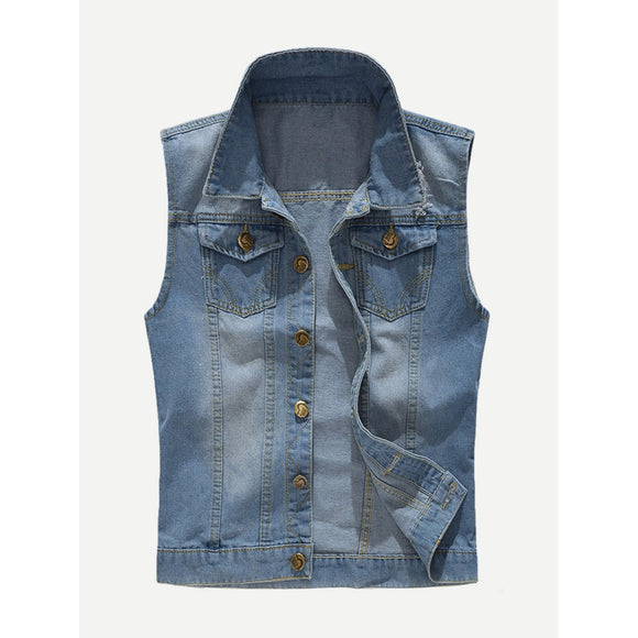 Men Wish Ripped Denim Vest