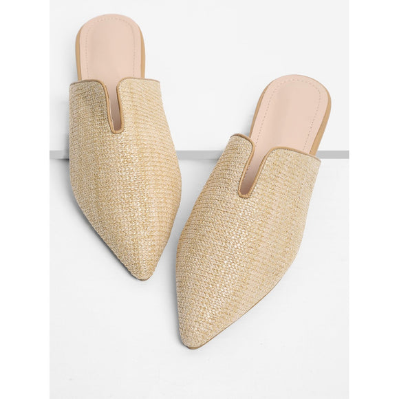 Pointed Toe Woven Mule Flats