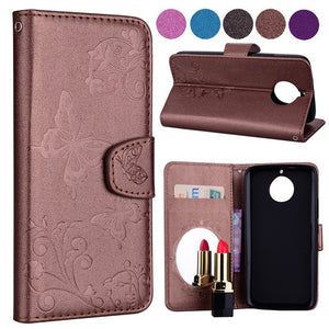 Flower Butterfly Pattern Embossing Flip Leather Mirror Wallet Case Cover For Motorola Moto G4/G4 Plus/G5/G6/G5S/G5S Plus/G5 Plus