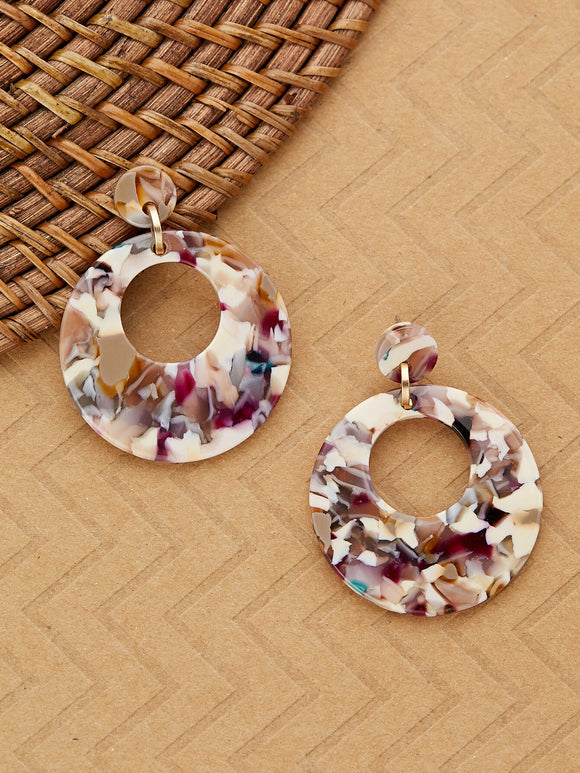 Marble Detail Acetate Circle Drop Earrings