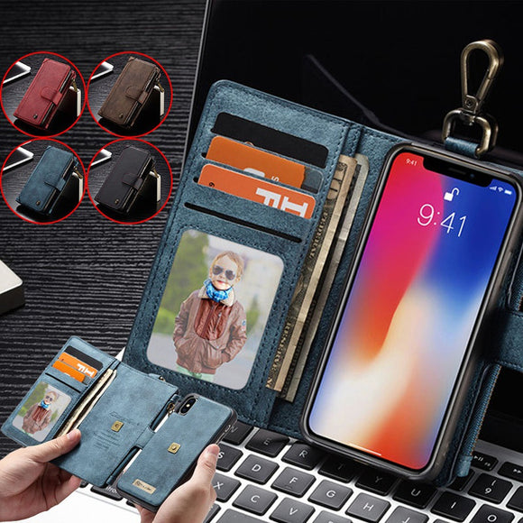 Multifunctional Zipper Wallet Case 2-in-1 Removable Wallet Phone Case for iPhone X 6 6S 7 8 Plus Samsung Galaxy S8 S9 Plus Note