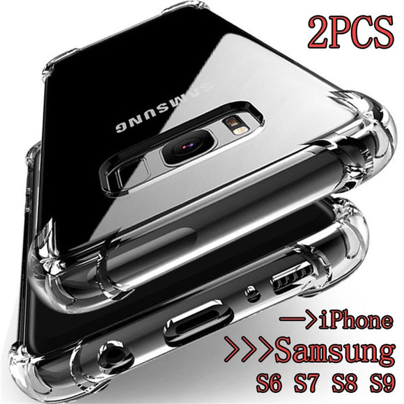 360° Shockproof Soft Silicone Transparent TPU Mobile Care Shell For Samsung Galaxy S9 Note8 S8 S7 S6 A7 A5 A3 J7 J5 iPhone 6s 7