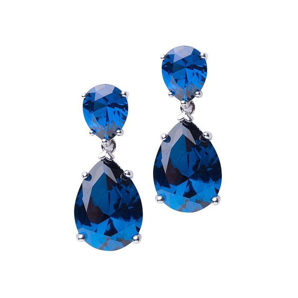 Blue Sapphire Double Pear Drop Earrings