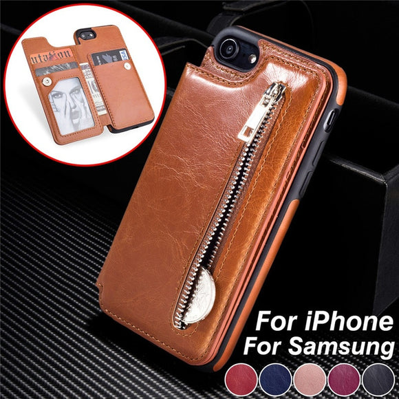 Luxury Leather Wallet Back Case Flip Stand Card Holder Zipper Wallet Case for IPhone X / 7 Plus / 7 / 8 Plus / 8 / 6 Plus / 6 /