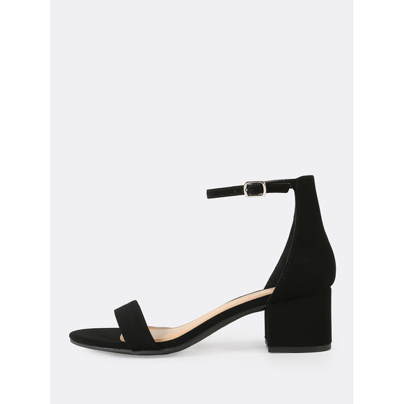 Faux Suede Ankle Strap Low Block Heel BLACK