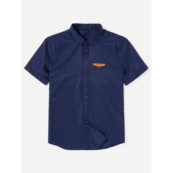 Men Patch Detail Shirt