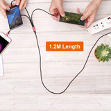 Multi Charger Cable Universal 3 in 1 Multiple USB Charging Cable Cord Adapter with Lighting, micro usb,usb c ports for Android