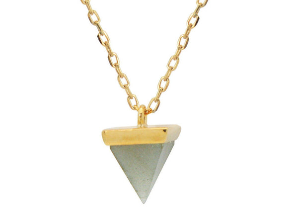 Golden Agate Pyramid Necklace