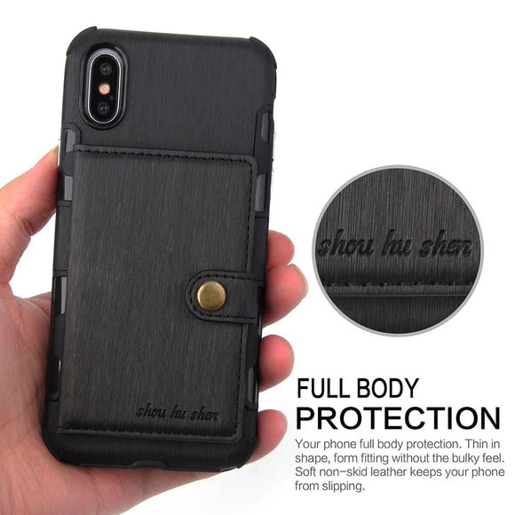 Full Body Protection Leather Phone Bags Cases for iPhone X 6 6s 6Plus 6sPlus 7 7Plus 8 8Plus/Samsung Galaxy S8 S8Plus S9 S9Plus/