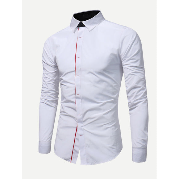 Men Roll Up Sleeve Plain Blouse