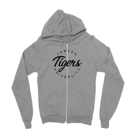 Official NCAA Towson Tigers - RYLTOW04 Mens / womens Boyfriend Zip Hoodie