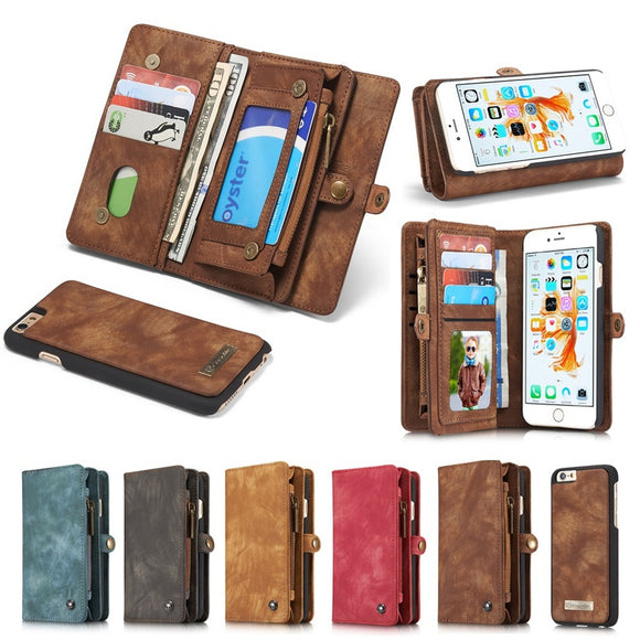 New Genuine Real Leather Business Zipper Wallet Case For Apple iPhone 8 7 6 6s/ for iPhone 6s 8 7 Plus for Samsung S9/S9 Plus/No