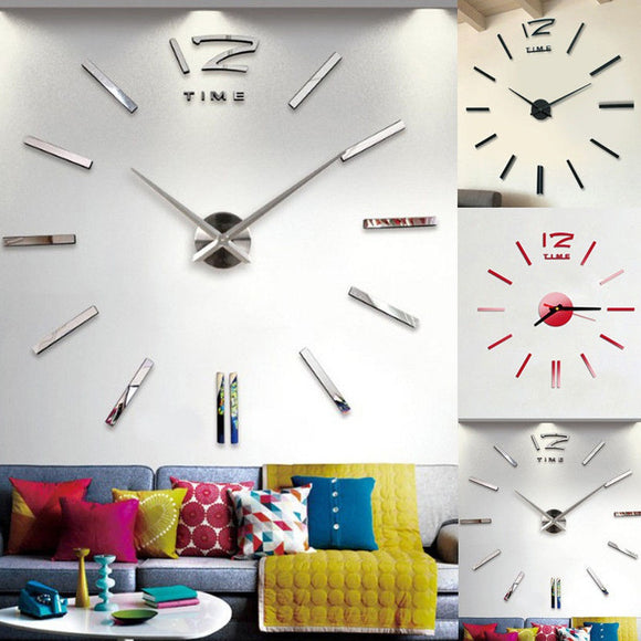 Modern Large 3D Mirror Surface Wall Clock Sticker Home Office Room DIY Decor New