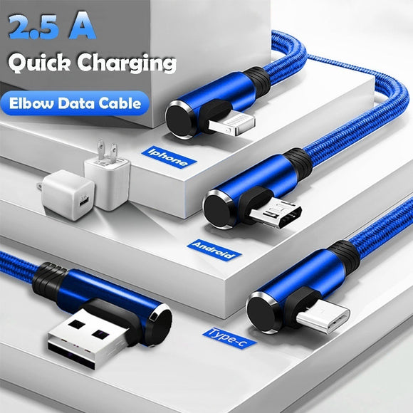 1M Micro USB Data Sync Cable fast Charging Cable 90 Degree Right Angle for Iphone X 8 6s 7 Plus 5s Samsung xiaomi Huawei Andorid