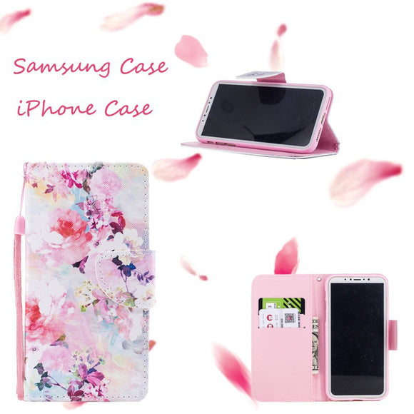 2018 New Cherry blossoms Painted Pattern PU Leather Wallet Cover Phone Case For iPhone 5/5S/SE/6/6S/6 Plus/6S Plus/7/8/7 Plus/8